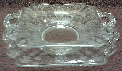 CAMBRIDGE GLASS DIANE SQUARE TWO HANDLE BOWL AND UNDERPLATE