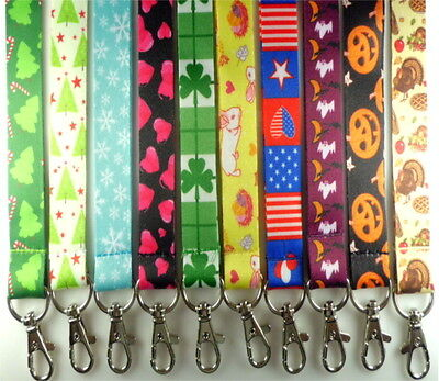 Holiday Print Lanyard Id Badge Holders Key Chains Christmas Halloween Easter