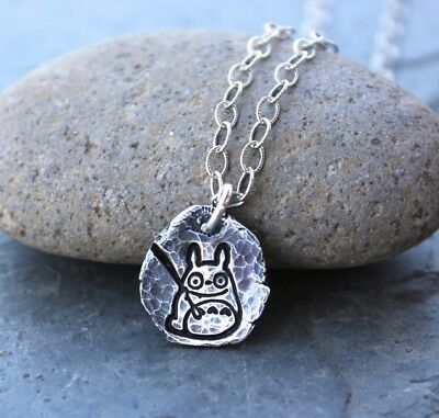 Totoro Ancient Fragment Necklace -  freeform fine silver antiqued handmade charm