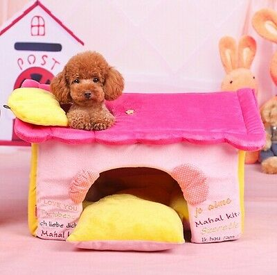New Soft Pink Smiling Face  Pet Dog Cat Sofa Bed House Folded Kennel Size M