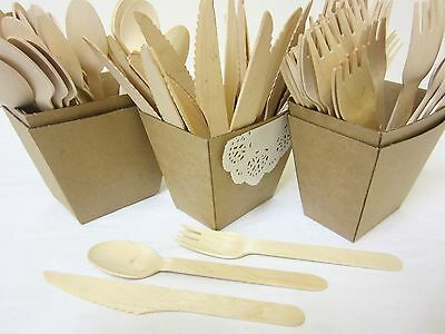 100 Pack Wooden Forks Spoons Knives Disposable Wooden Cutlery Pack