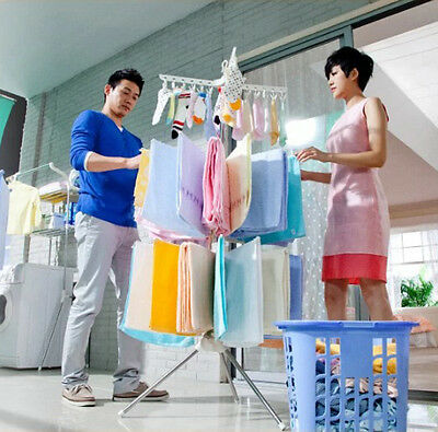 Hanging Clothes Drying Line Airer Hanger Laundry Rack Outdoor Indoor Large Fold