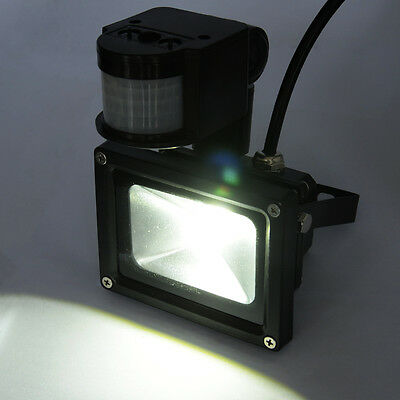 10W Cool White PIR Sensor LED Flood Wash Light Waterproof IP65 Outdoor Garden