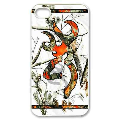 DESIGN 2014 NEW..Camo White Realtree Case iPhone 4/4s Browning Orange