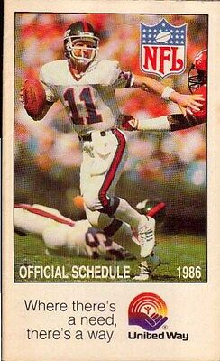 Phil Simms New York Giants 1986 NFL Complete Season Schedule All Teams