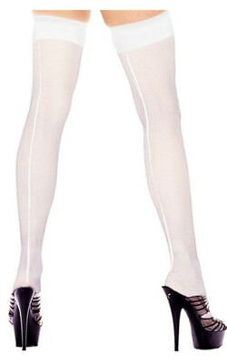 Adult Womens Thigh Hi White Stockings With Back Seam Halloween Costume Accessory