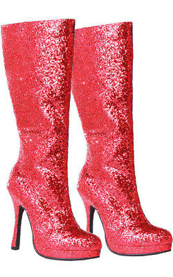 Adult Womens Red Glitter High Heel Boots Super Hero Shoes Costume Accessory