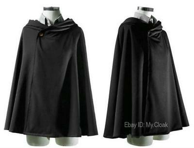 In Short Halloween Hooded Black Anime Cloak Cloth Cosplay Wedding Cape Medieval