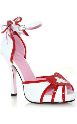 Womens Adult Naughty Nurse Red And White High Heel Shoes Accessory