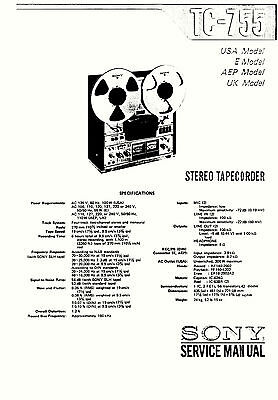 SONY TC-850 TAPE DECK SERVICE MANUAL 78 Pages