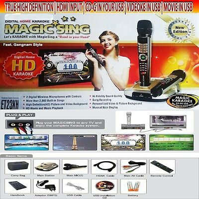 NEW Magic Sing Karaoke ET23KH 2 Wireless mic 5145 TAGALOG ENGLISH SONGS,BAG