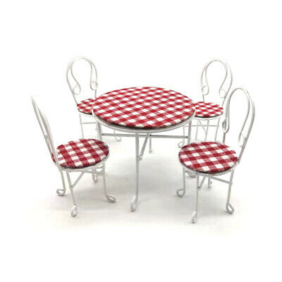 Dollhouse Miniature 1:12 Scale Iron Metal Table and 4 Chairs Set 5PCS  WG011