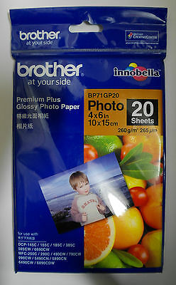 "Brother  4"" x 6"" 10 x 15cm Premium Glossy Photo Paper - 20 Sheets (260gsm) Japan"