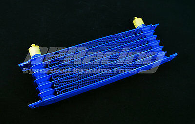 7 Row 10An Universal Blue Engine Oil Cooler / Racing Performance Oil Cooler