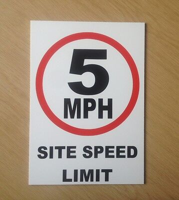 5 MPH Site speed limit sign.  Safety Sign for site and factory (PL-74)