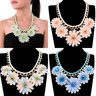 Fashion Jewelry Gold Chain Jel Resin Pearl Crystal Flower Bib Pendant Necklaces
