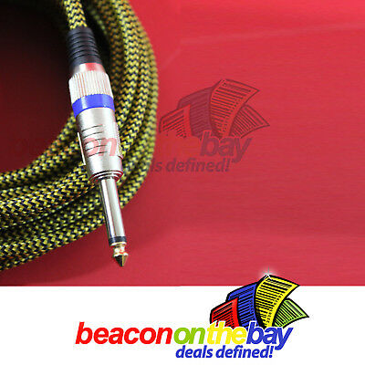 ASHTEC Aussie Made 20 Foot Guitar Lead Instrument Cable Noiseless Braided Tweed