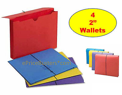 "4 Smead Antimicrobial Expanding Wallets, Letter Size 2"" Expansion Assorted Color"