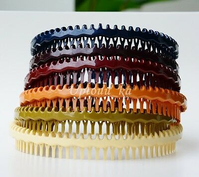 6 Comb Wholesale Soft Plastic Beautiful Headbands Hairbands Brown Luxury Bridal