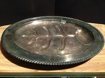 Vintage Footed E P C Silverplated Meat Tray #526
