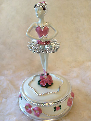 Pink ballerina music box Babyshower Newborn Christening birthday christmas gift