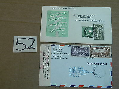 1940s ENVELOPE W/ STAMP FROM HAITI TO USA LOT OF 2