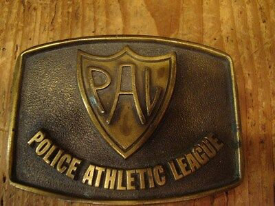 Vintage PAL Police Athletic League Brass Belt Buckle Stineburg Studio Indianapol