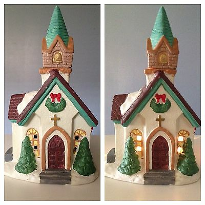 "☀️ Christmas Village CHURCH Lighted House Collection 8.5"" Ceramic Decoration"