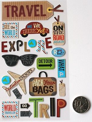 SCRAPBOOKING NO 013 - 27 Piece SMALL TO MEDIUM TRAVEL SAYINGS STICKERS PACK
