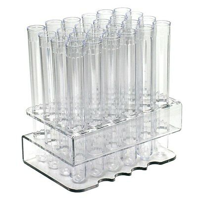 """Test Tube Rack with 24 CLEAR 6"""" Test Tube Shot Glass and RED Caps"""