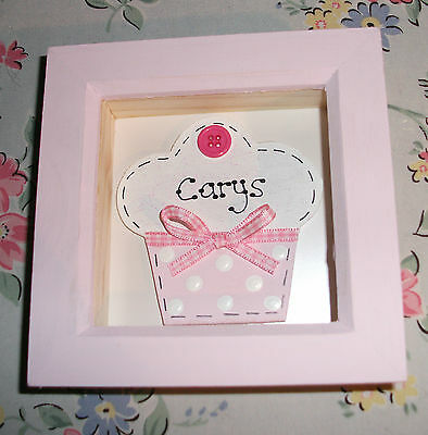 PERSONALISED Box Frame ~ Cupcake Butterfly Heart Star ~ New Baby Birthday Gift