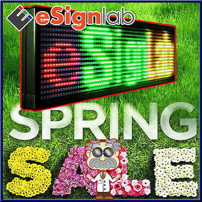 "LED Sign 3Color 15""x40"" Programmable Scrolling Outdoor Message Display Open"