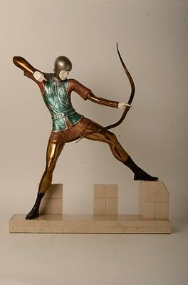Demetre D.H. Chiparus Castle Archer Bronze Sculpture Signed Onyx Marble Base