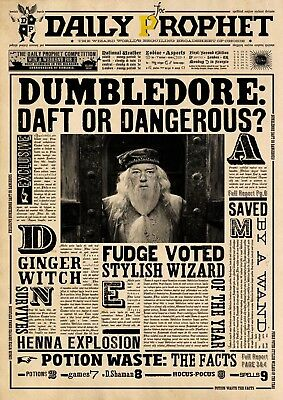 Harry Potter Daily Prophet Dumbledore Glossy Wall Art Poster Print A2,a3, A4, A5