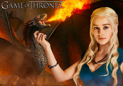GAME OF THRONES DAENERYS TARGARYEN EMILIA CLARKE WALL ART POSTER (A1 - A5 SiZES)