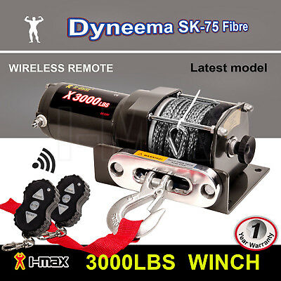 12V Wireless 3000LBS 1361KGS Electric Winch Synthetic Rope Grey ATV 4WD BOAT