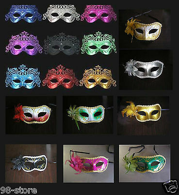 Lot of 10pcs Crown Fancy Dress Masquerade Mardi Party Mask New with Rose