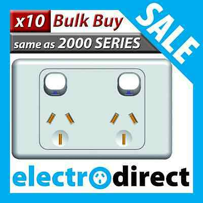 Double Power Point GPO Outlet Switch Electrical 2000 Series Style - Bulk Buy x10