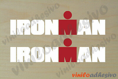 PEGATINA STICKER VINILO Ironman blanco multicolor triatlon aufkleber autocollant