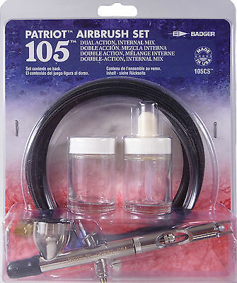 Badger Airbrushes - 105-Cs Patriot Airbrush - Gravity Feed Airbrush & Hose