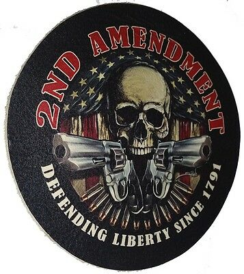 LEATHER DEFENDING LIBERTY SINCE 1791 2nd AMENDMENT BIKER JACKET MILITARY PATCH