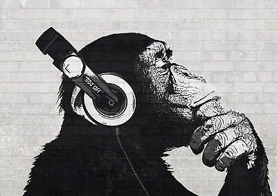 Banksy Monkey With Headphones Graffiti Street Wall Art Poster Print (All Sizes)
