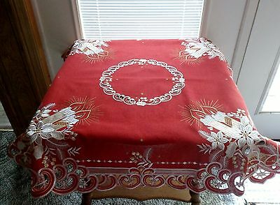 "Embroidered CHRISTMAS CANDLES ON RED 33"" Square Table Topper"