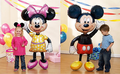 2 Airwalkers Large Mickey And Minnie Mouse Balloons Ears Decoration Party Supply