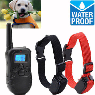For 2 Dog Adjustable Shock Training Collar Pet Trainer + Remote 4 Training Modes