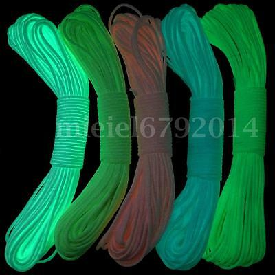 100FT 9 Strand 550Lb Luminous Glow in the Dark Nylon Paracord Parachute Cord Out