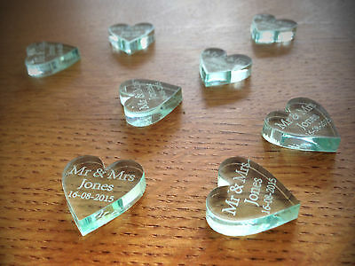 Personalised Wedding Birthday Table Decorations Favours Glass Effect Hearts