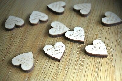 Personalised Wooden Laser Cut Heart Wedding Table Decoration Favours Rustic