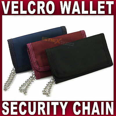 Mens Boys Trifold Sports WALLET with Security chain Velcro Canvas Black Navy Red
