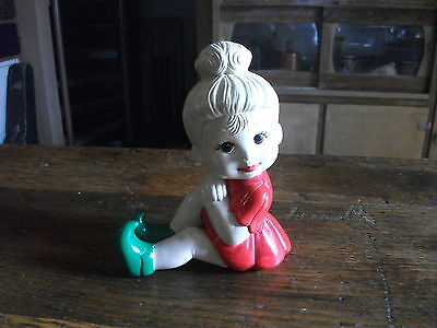 Very cute hand painted ceramic girl child figurine decorative ornament